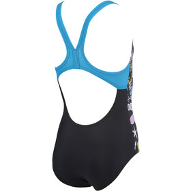arena Playful Swim Pro Back One Piece Badpak Meisjes, black/turquoise